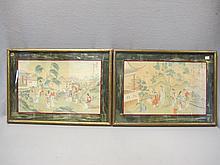 Antique pair of oriental paintings on silk
