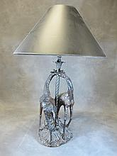 Antique carved wood giraffes lamp
