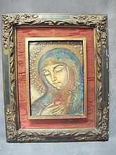Old Religious painting on paper on wood
