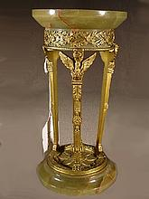 French empire bronze & onyx miniature pedestal