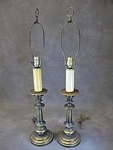 Old pair of metal table lamps