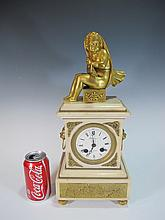 Antique French bronze & marble mantle clock