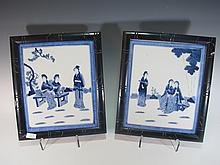 Vintage Chinese pair of porcelain plaques