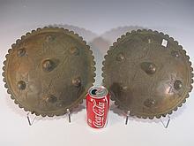 Antique pair of oriental bronze shields