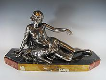 Antique French silverplated spelter statue