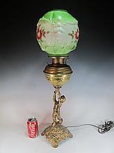 The Rival spelter, brass & glass oil lamp