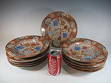 Vintage Chinese set of 12 porcelain plates