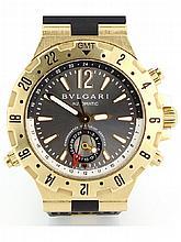 18k Yellow gold and rubber bulgari gmt diagono professional watch