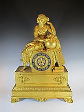 Large 19th C French ormolu bronze mantle clock