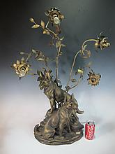 Antique French Spelter lamp, L. CARVIN