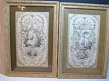 Antique pair of French lithograph