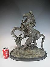Antique French spelter horse & man statue
