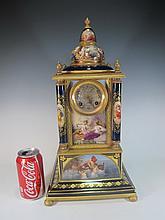Antique Austrian Lenzkirch porcelain & bronze clock