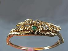 Bracelet, 14 k gold, 1 0.09 ct diam. / 10 0.02 ct diam.,/ 1 emerald, 20 grams