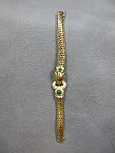 Bracelet, 18 k gold, 6 emeralds & 54 diamonds, 26.5 grams