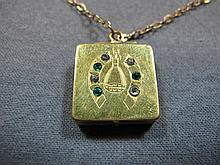 Necklace & Locket, 10 k gold, emeralds & diamonds, 10 gms