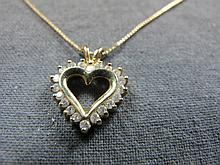 Necklace & heart, 14 k gold, 20 diamonds, 3 gms