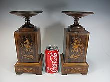 Antique pair of English inlaid wood urns