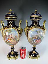 Antique pair of French Sevres porcelain & bronze urns