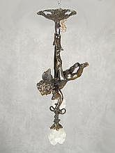Old spelter & glass cherub chandelier