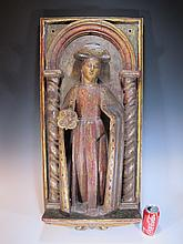 18th C Religious carved wood plaque