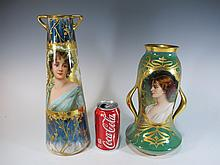Probably Old Vienna & Dresden porcelain vases