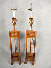 Vintage pair of Chinese wood floor lamps