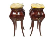 Antique pair of French Louis XV style bombe tables