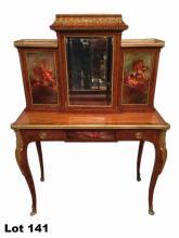 Antique French Louis XV ormolu vitrine/desk