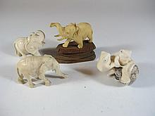 Vintage Asian 3 ivory elephants & ivory frogs buttom