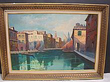 Old oil on canvas Venice view painting, signed