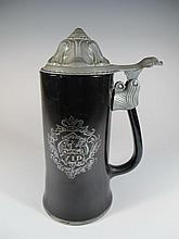 Vintage German metal & glass tankard