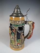 Vintage German metal & ceramic tankard