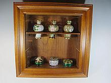 Display cabinet with 3 cloisonne vases and 3 enamel boxes