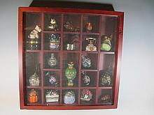 Display cabinet with cloisonne vases, porcelain & enamel boxes