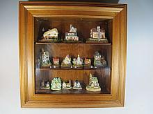 Display cabinet with 14 resin houses models