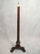 Antique wood & alabaster floor lamp base