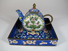 Vintage Asian cloisonne pitcher & tray