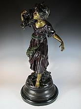 Huge bronze girl statue, signed August Moreau
