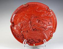 Vintage Asian cinnabar plate, signed