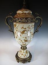 Huge bronze & porcelain lided urn