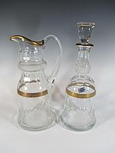 Czechoeslovakian glass bottle and pitcher
