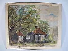 Old European watercolor painting