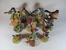 Set of 10 porcelain birds