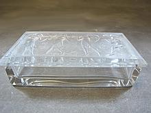 Signed R Lalique Art Deco glass box