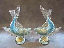 pair of Italian Murano glass fishes statues