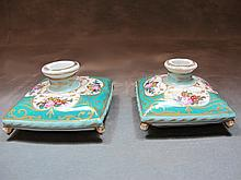 Antique pair of French porcelain inkwells