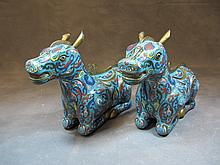 Pair of Chinese cloisonet incense burners