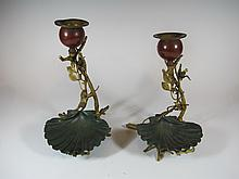 2 antique bronze candelabras possible austrian