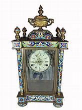 Antique European bronze & enamel mantel clock
